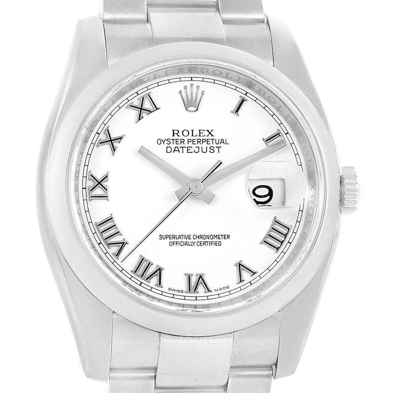 Rolex Datejust White Roman Dial Steel Mens Watch 116200 SwissWatchExpo