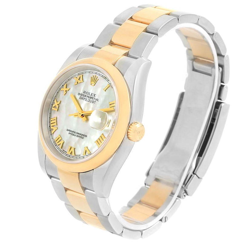 Rolex Datejust Steel Yellow Gold MOP Dial Mens Watch 116203 Box Papers SwissWatchExpo