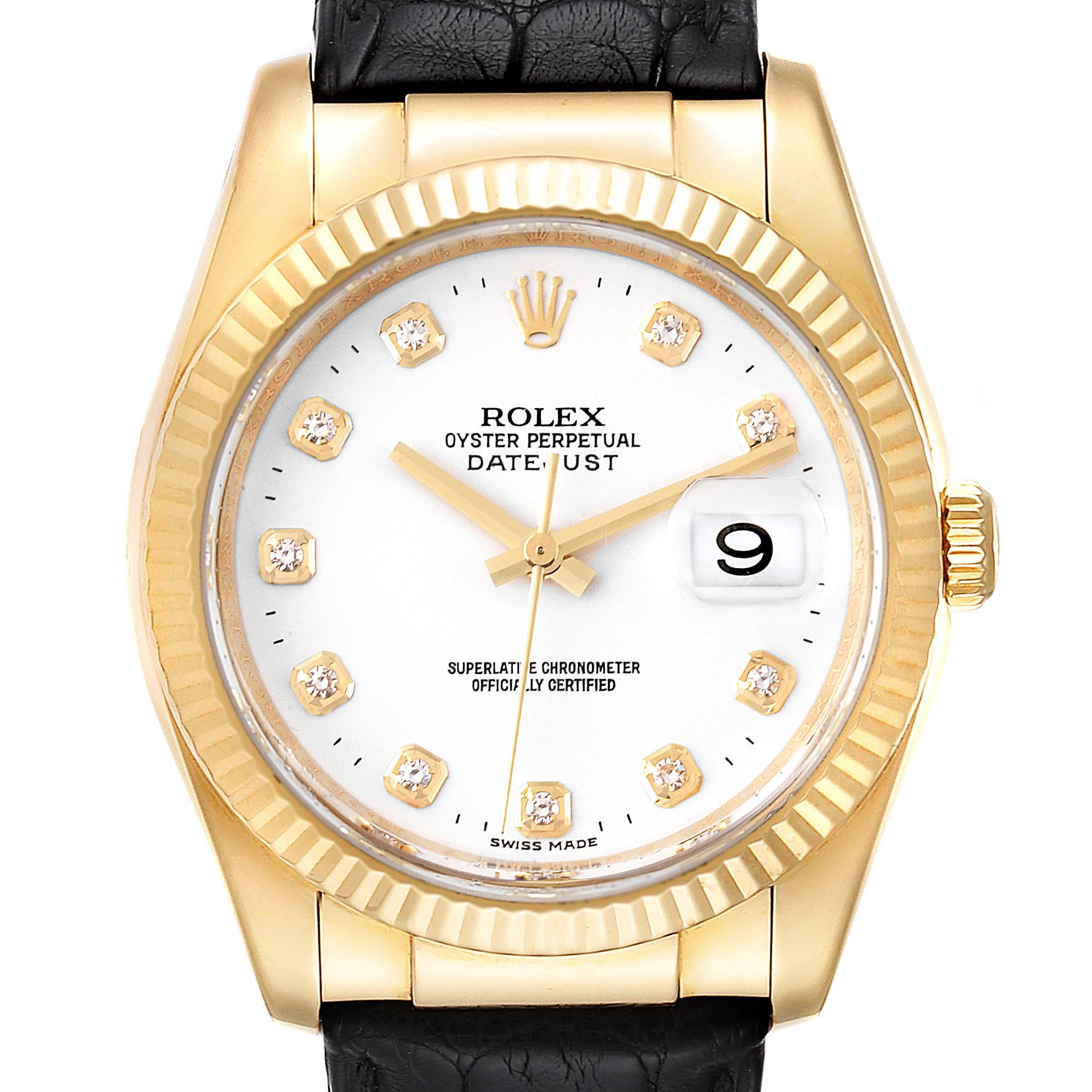 Rolex Datejust 36 Yellow Gold White Diamond Dial Unisex Watch 116138