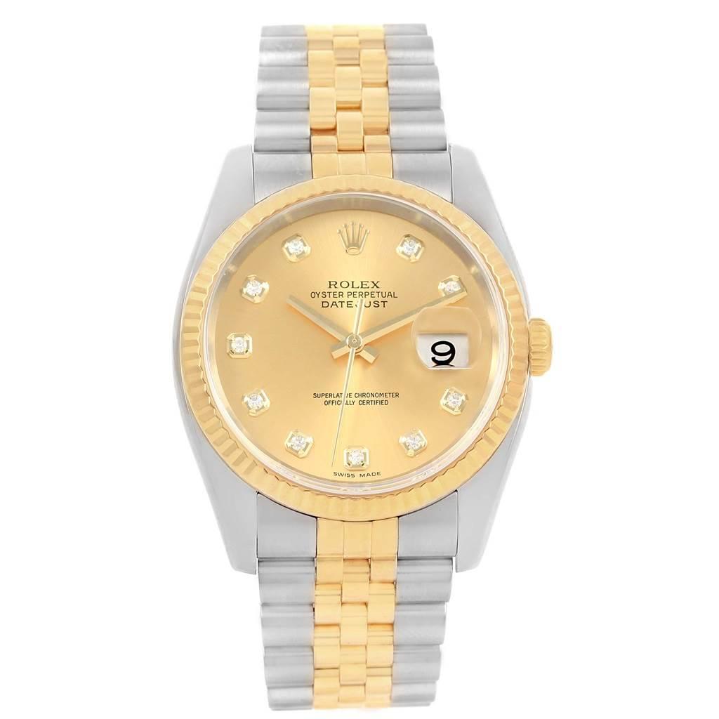6e780ddd67f24 ... 16815 Rolex Datejust Steel 18K Yellow Gold Diamond Dial Mens Watch  116233 SwissWatchExpo ...