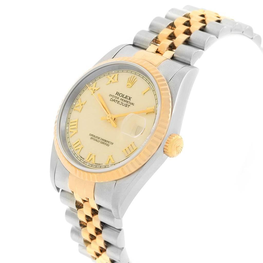 Rolex Datejust Steel Yellow Gold Ivory Roman Dial Mens Watch 16233 SwissWatchExpo
