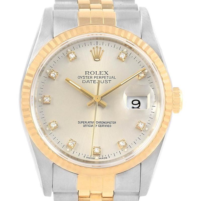 Rolex Datejust Steel Yellow Gold Silver Diamond Dial Unisex Watch 16233 SwissWatchExpo