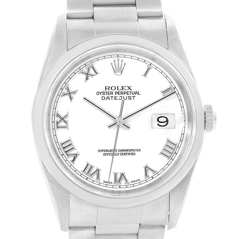 Rolex Datejust White Roman Dial Steel Mens Watch 16200 Box Papers SwissWatchExpo