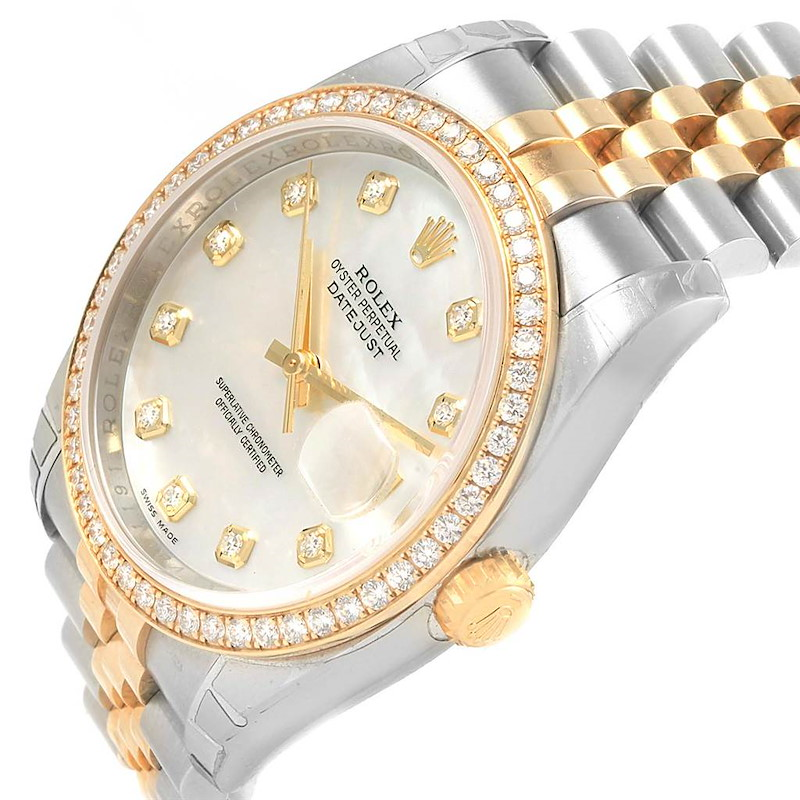 Rolex Datejust 36 Steel Yellow Gold MOP Diamond Unisex Watch 116243 SwissWatchExpo