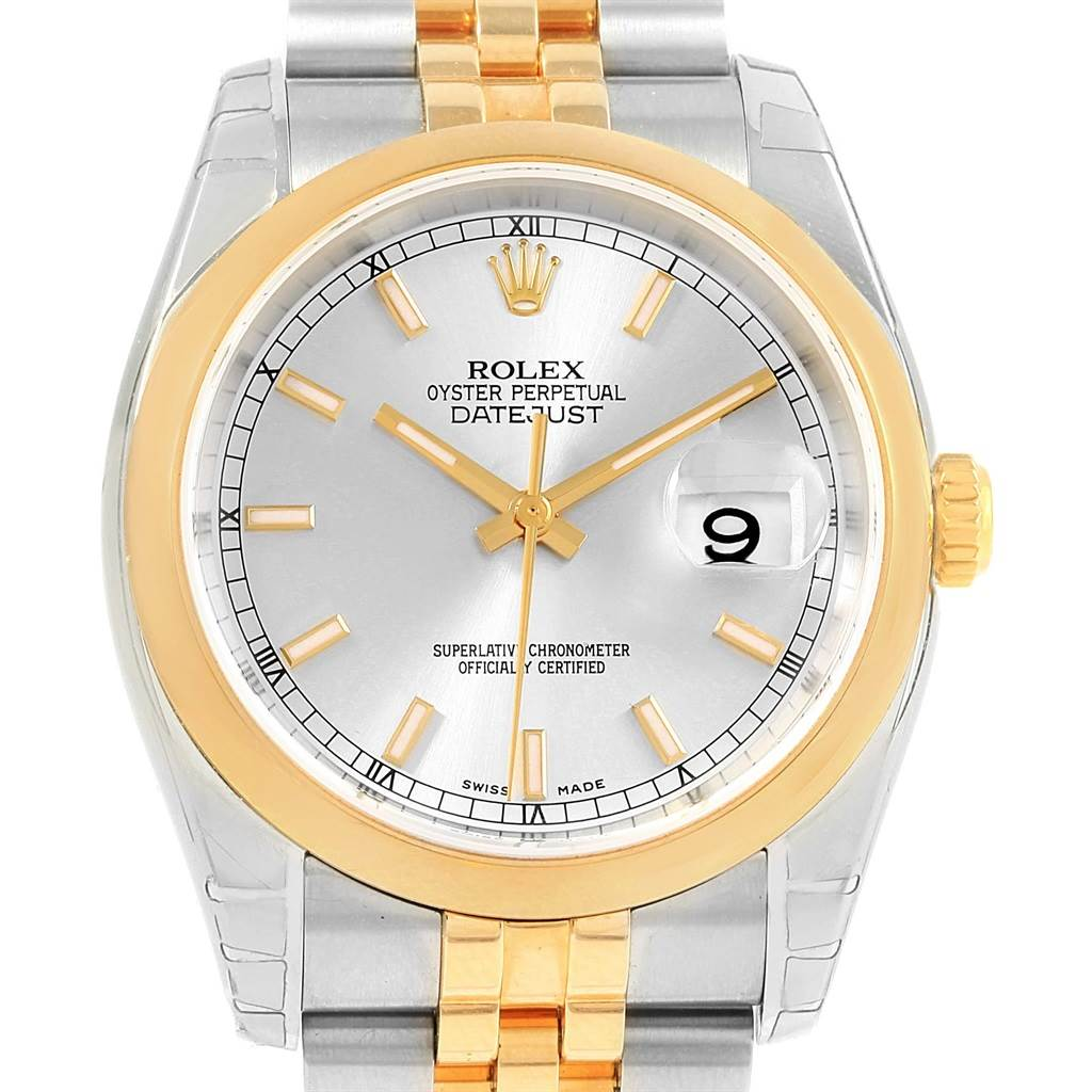 Rolex Datejust 36 Steel Yellow Gold White Roman Dial Mens Watch 116203 SwissWatchExpo