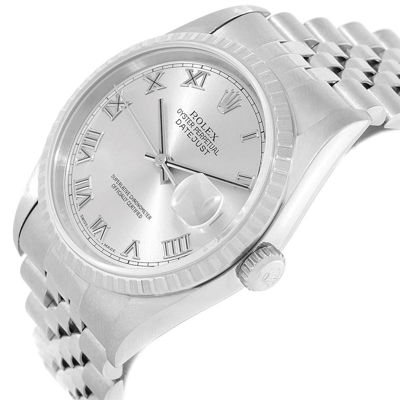 Rolex Datejust 36 Silver Roman Dial Steel Mens Watch 16220 Box Papers SwissWatchExpo