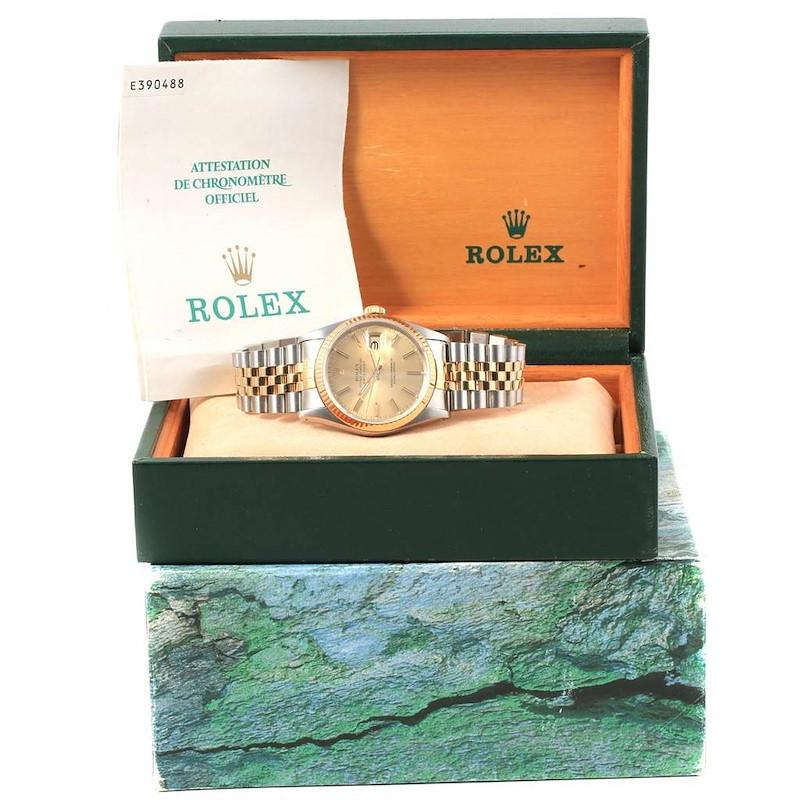 Rolex Datejust 36 Steel 18K Yellow Gold Mens Watch 16233 Box Papers SwissWatchExpo