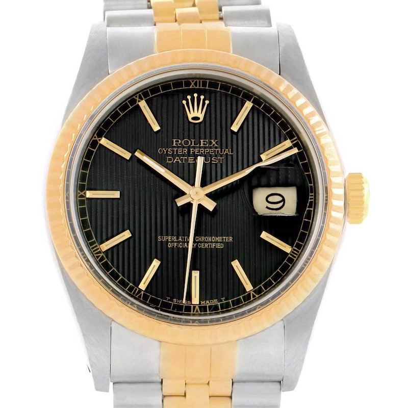 Rolex Datejust 36 Steel Yellow Gold Tapestry Dial Mens Watch 16233 SwissWatchExpo