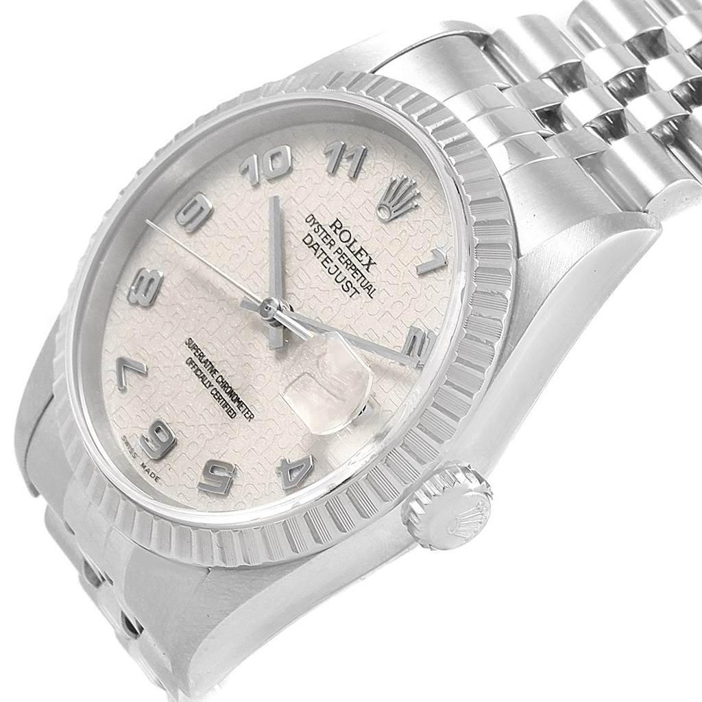 Rolex DateJust 36 Silver Jubilee Arabic Dial Steel Mens Watch 16220 SwissWatchExpo