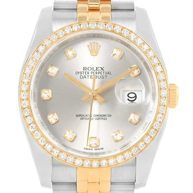 Rolex Datejust 36 Steel Yellow Gold Silver Diamond Dial Watch 116243 SwissWatchExpo