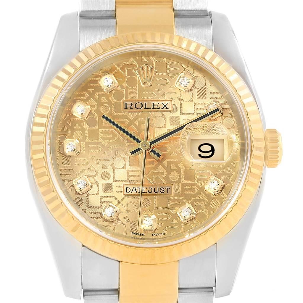 Rolex Datejust Steel Yellow Gold Jubilee Diamond Dial Mens Watch 116233 SwissWatchExpo