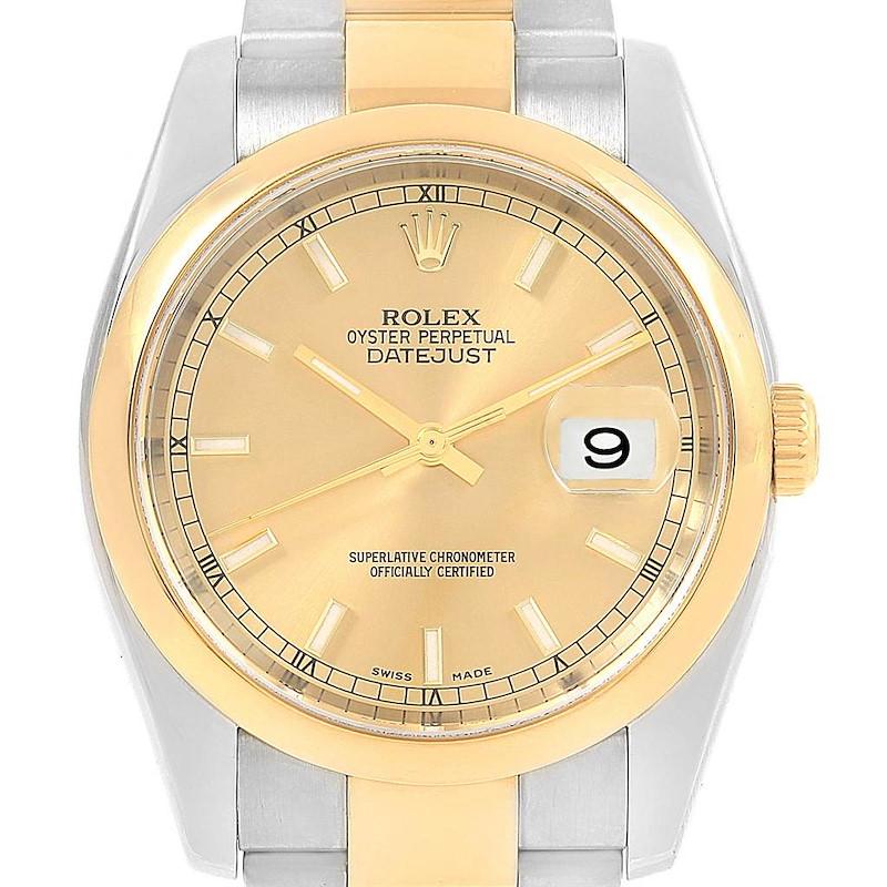 Rolex Datejust 36 Steel Yellow Gold Smooth Bezel Mens Watch 116203 SwissWatchExpo