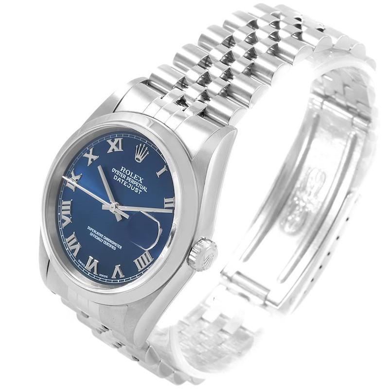 Rolex Datejust 36 Blue Roman Dial Jubilee Bracelet Mens Watch 16200 SwissWatchExpo