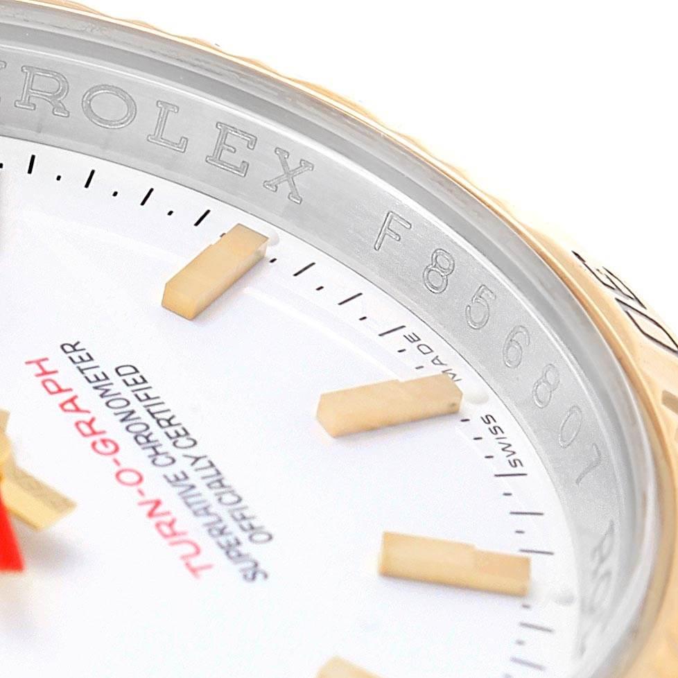 Rolex Datejust Turnograph Steel Yellow Gold White Dial Watch 116263 SwissWatchExpo
