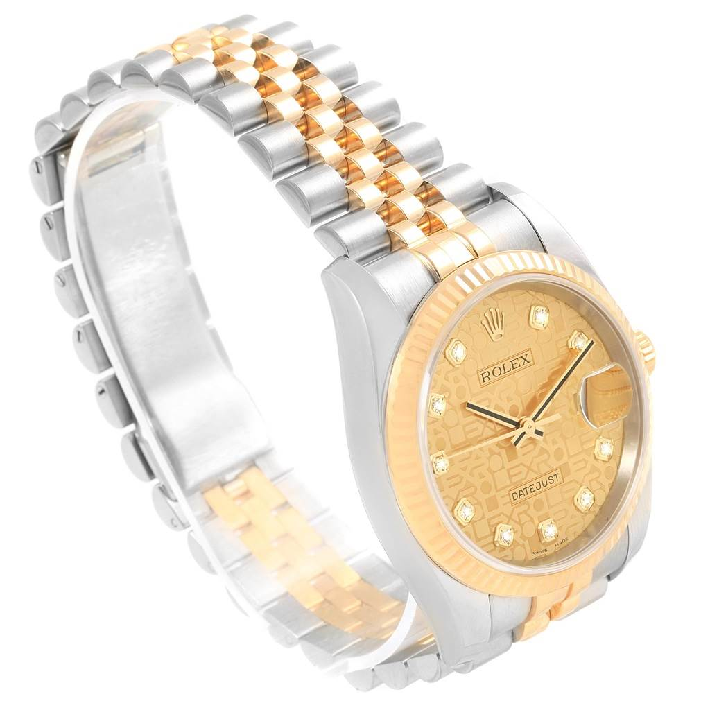 Rolex Datejust Steel Yellow Gold Jubilee Diamond Dial Mens Watch 116233 SwissWatchExpo