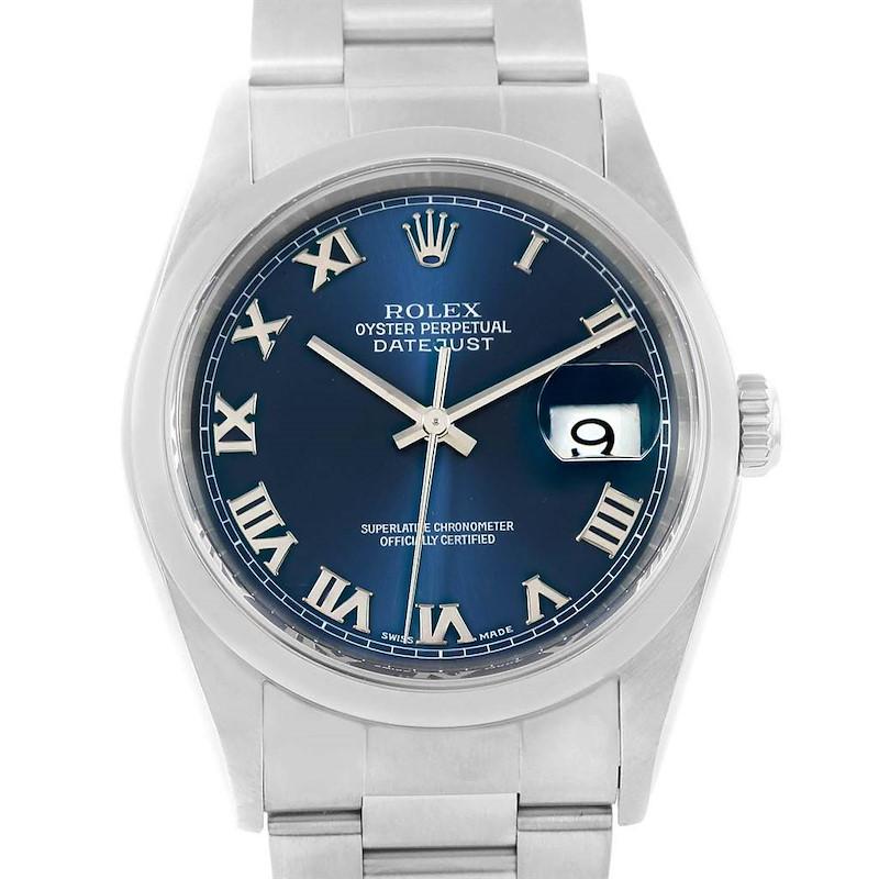 Rolex Datejust 36 Blue Roman Dial Oyster Bracelet Mens Watch 16200 SwissWatchExpo