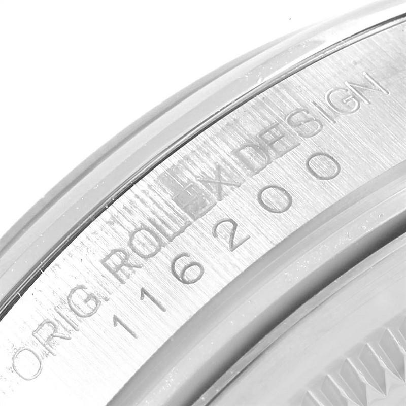 Rolex Datejust White Baton Dial Steel Mens Watch 116200 SwissWatchExpo