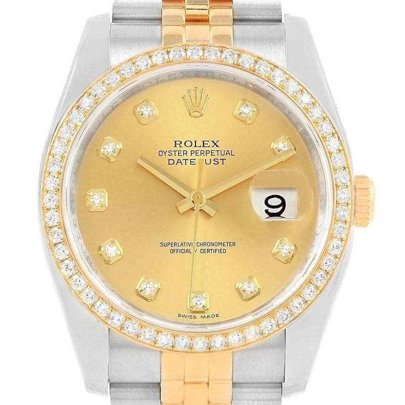 Rolex Datejust 36 Steel Yellow Gold Diamond Dial Bezel Watch 116243 SwissWatchExpo
