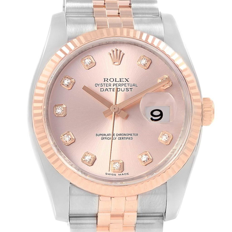 Rolex Datejust 36 Pink Dial Steel EveRose Gold Diamond Watch 116231 SwissWatchExpo