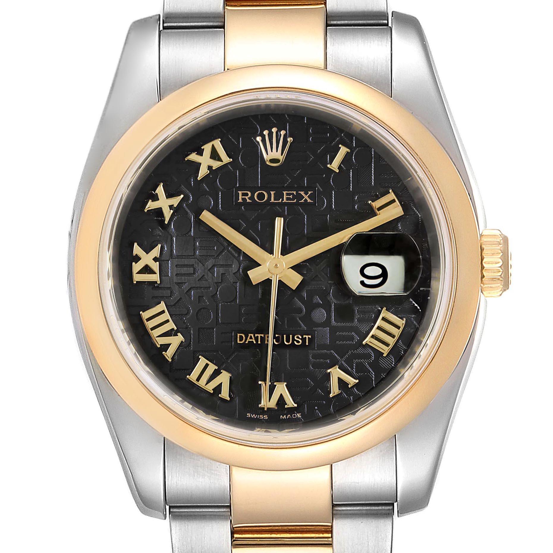 Rolex Datejust Steel Yellow Gold Jubilee Roman Dial Mens Watch 116203