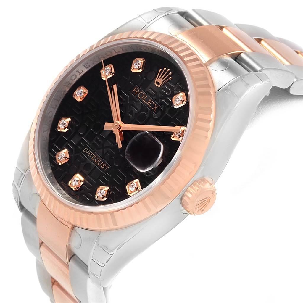 Rolex Datejust 36 Steel EveRose Gold Diamond Unisex Watch 116231 Unworn SwissWatchExpo