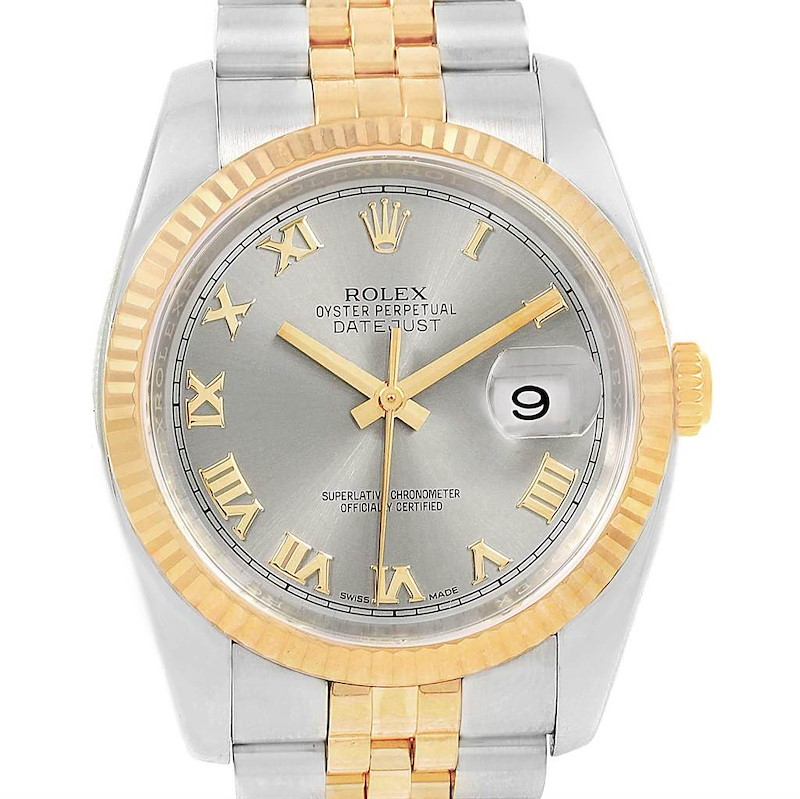 Rolex Datejust Steel Yellow Gold Roman Dial Mens Watch 116233 Box SwissWatchExpo