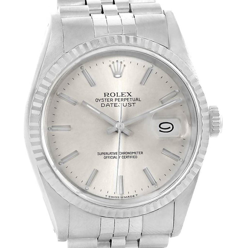 Rolex Datejust 36 Steel White Gold Silver Dial Fluted Bezel Watch 16234 SwissWatchExpo