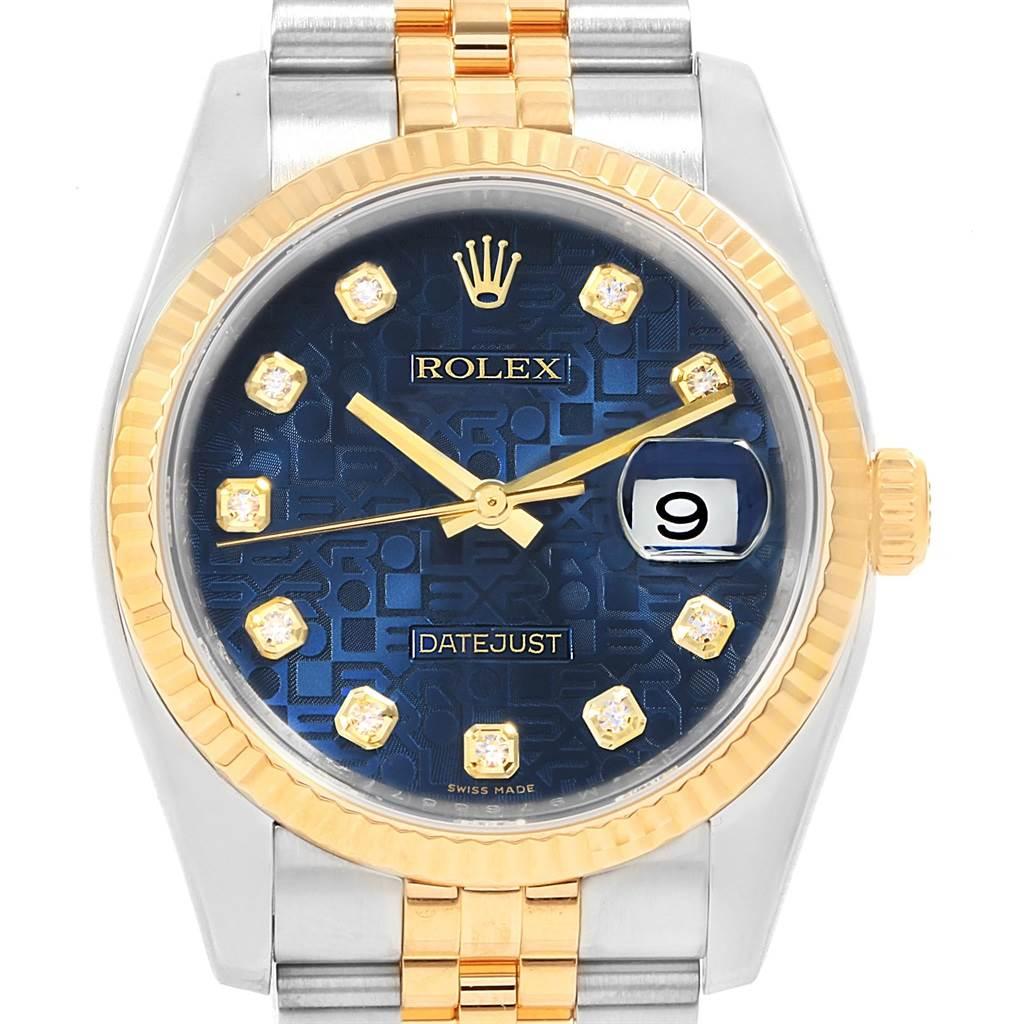 Rolex Datejust 36 Steel Yellow Gold Blue Diamond Dial Watch 116233 Box Card SwissWatchExpo