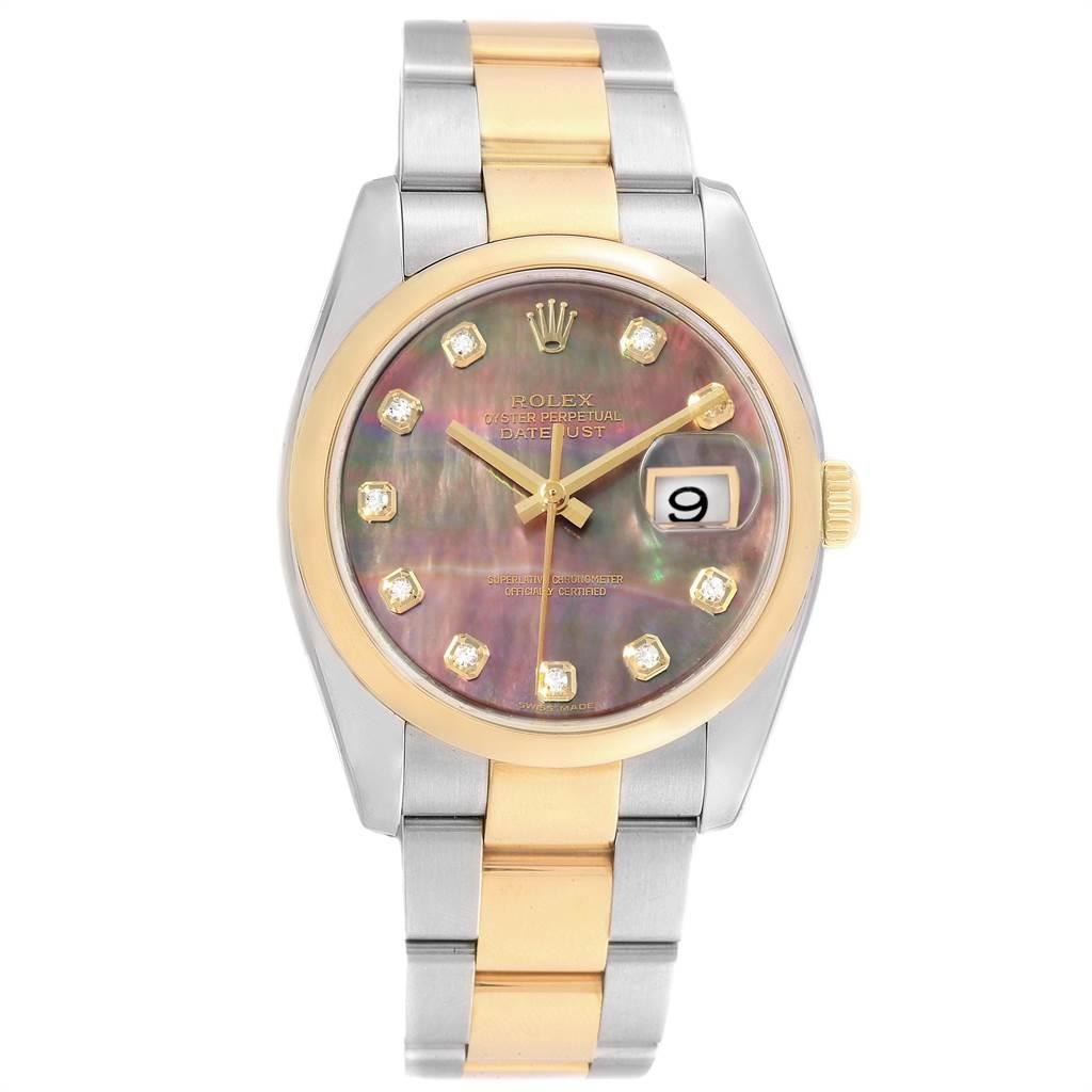 Rolex Datejust 36 Steel Yellow Gold MOP Diamond Dial Mens Watch 116203 SwissWatchExpo