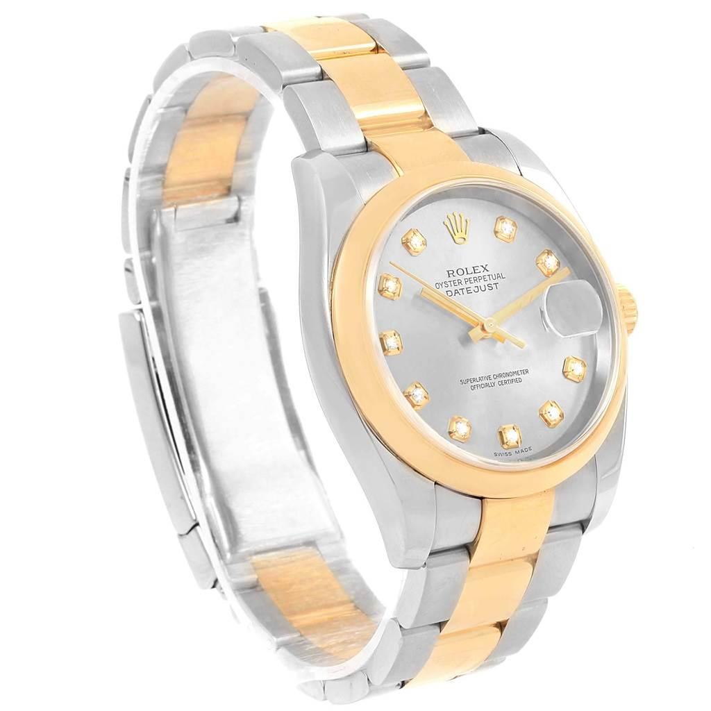 18623 Rolex Datejust 36 Steel 18K Yellow Gold Diamond Dial Mens Watch 116203 SwissWatchExpo
