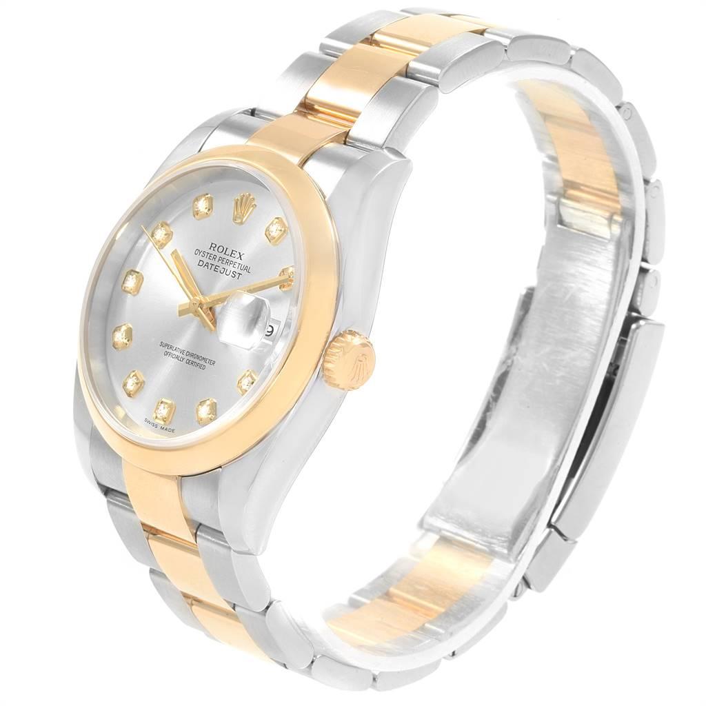 Rolex Datejust 36 Steel 18K Yellow Gold Diamond Dial Mens Watch 116203 SwissWatchExpo