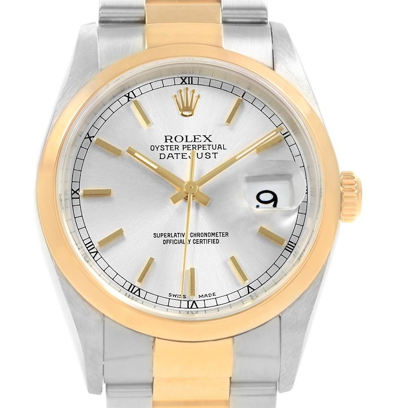 Rolex Datejust 36 Steel Yellow Gold Silver Dial Mens Watch 16203 SwissWatchExpo