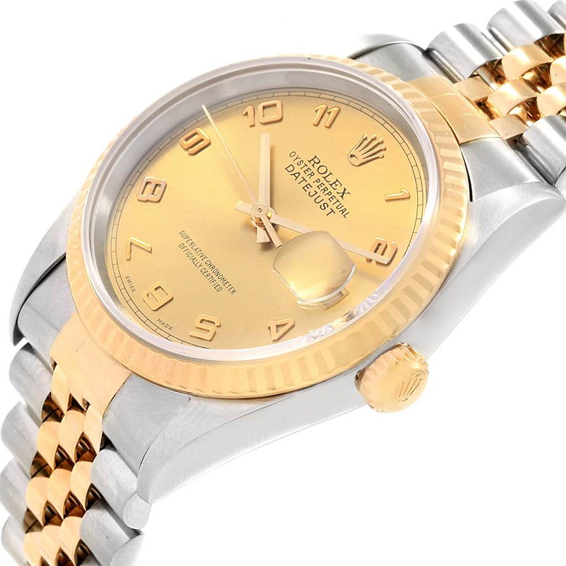Rolex Datejust 36 Steel 18K Yellow Gold Mens Watch 16233 SwissWatchExpo