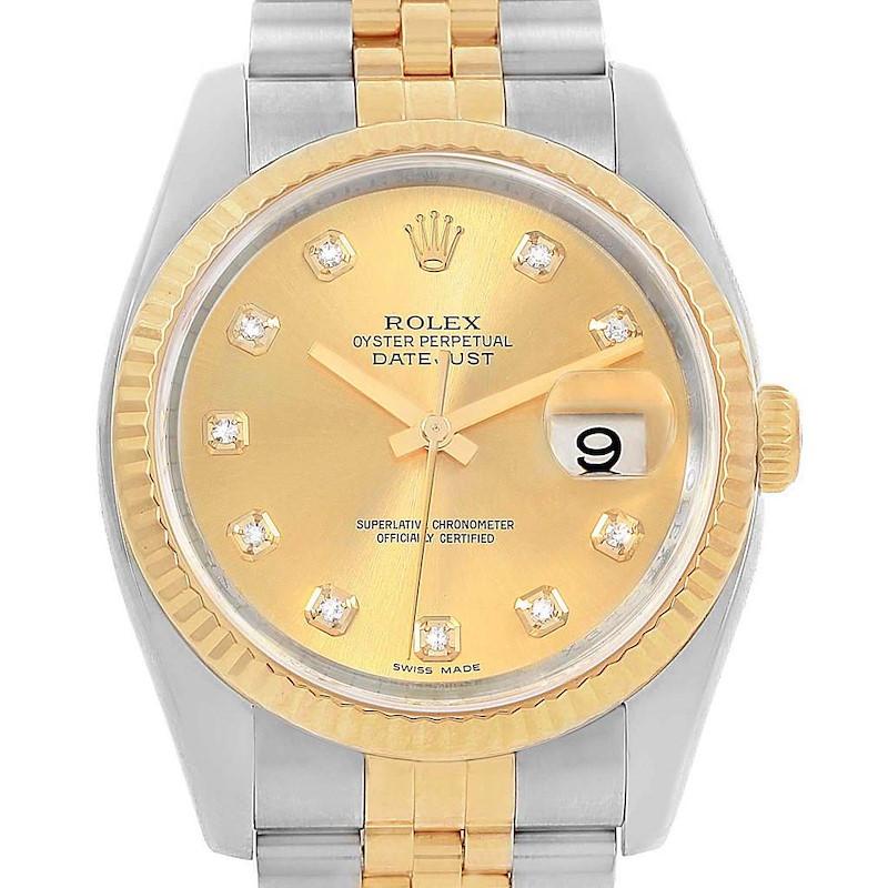 Rolex Datejust 36 Steel Yellow Gold Diamond Dial Mens Watch 116233 SwissWatchExpo