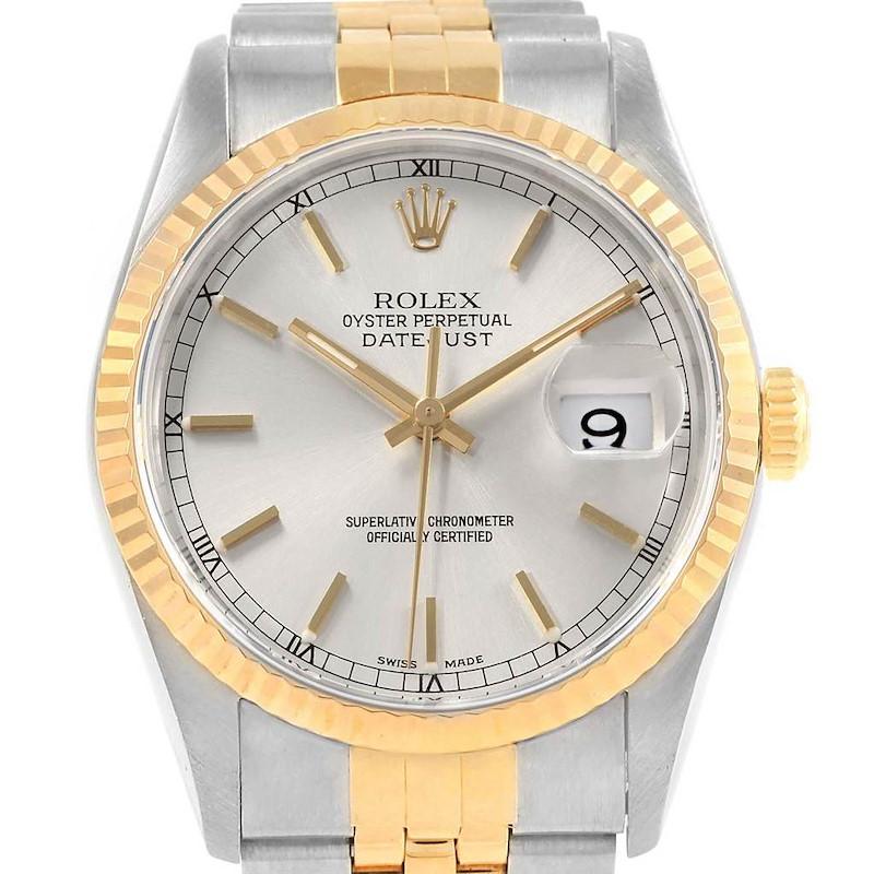 Rolex Datejust Steel Yellow Gold Silver Dial Mens Watch 16233 Unworn SwissWatchExpo