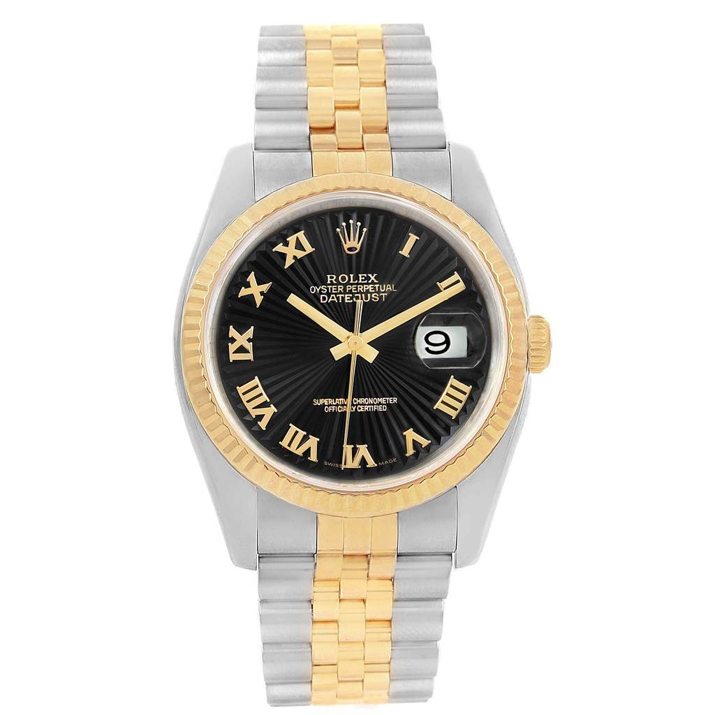 Rolex Datejust 36 Steel Yellow Gold Black Sunbeam Dial Watch 116233 SwissWatchExpo