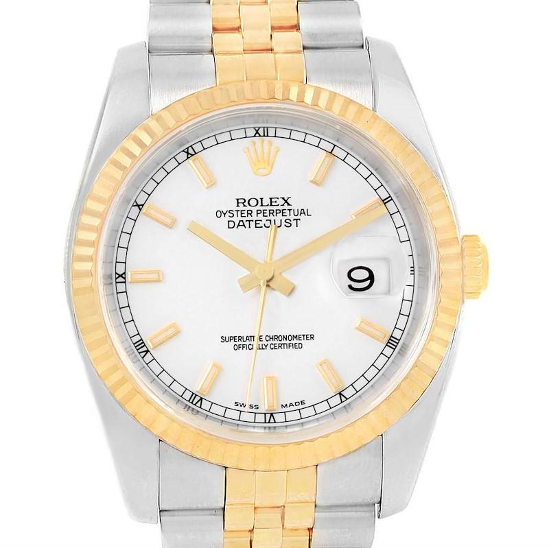 Rolex Datejust 36 Steel Yellow Gold White Dial Mens Watch 116233 SwissWatchExpo