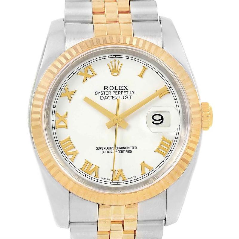 Rolex Datejust Steel Yellow Gold White Roman Dial Mens Watch 116233 SwissWatchExpo