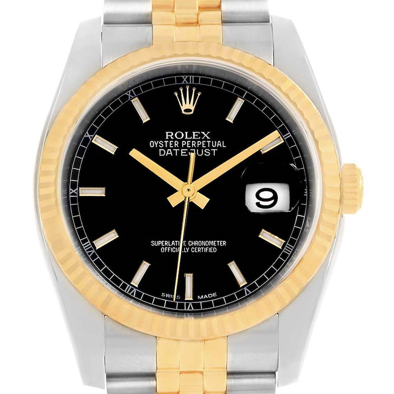 Rolex Datejust 36 Steel Yellow Gold Black Dial Mens Watch 116233 SwissWatchExpo