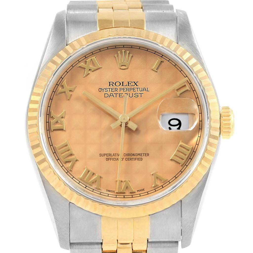 Rolex Datejust 36 Steel Yellow Gold Pyramid Dial Watch 16233 Box Papers SwissWatchExpo