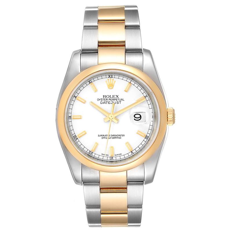 Rolex Datejust 36 Steel Yellow Gold White Dial Mens Watch 116203 SwissWatchExpo