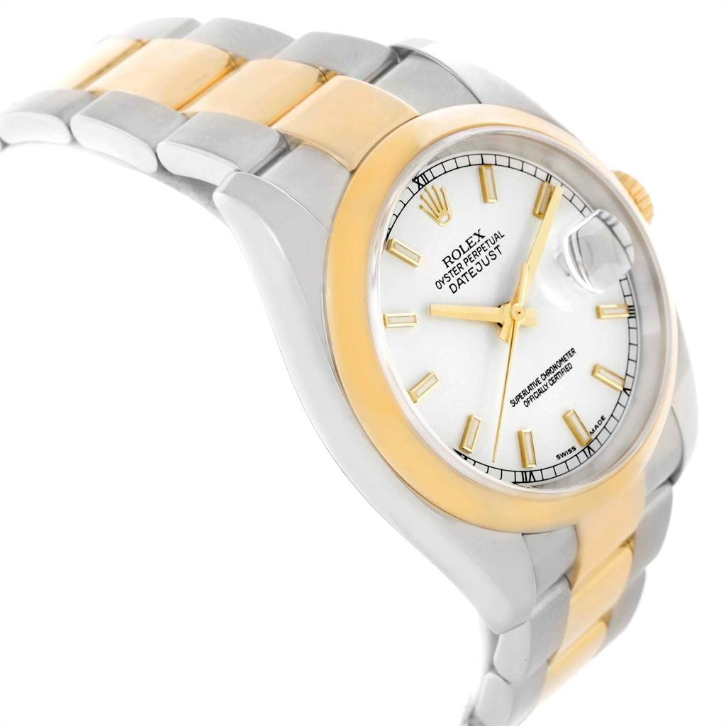 16649AB Rolex Datejust 36 Steel Yellow Gold White Dial Mens Watch 116203 SwissWatchExpo