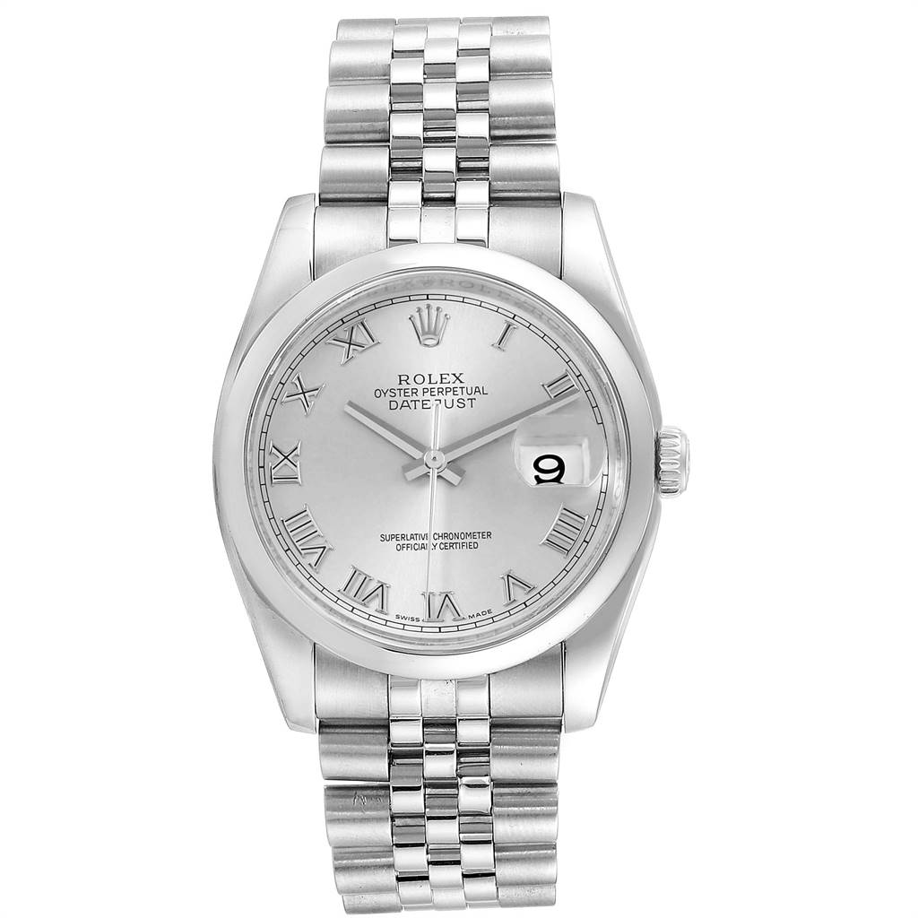 18396 Rolex Datejust Silver Roman Dial Steel Mens Watch 116200 SwissWatchExpo