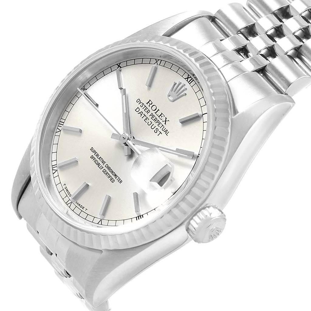 Rolex Datejust 36 Steel 18K White Gold Fluted Bezel Mens Watch 16234 SwissWatchExpo