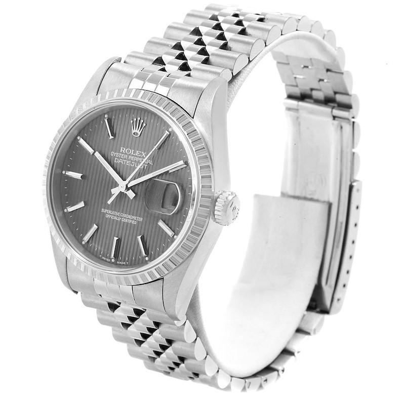 Rolex Datejust 36 Grey Tapestry Dial Steel Mens Watch 16220 SwissWatchExpo