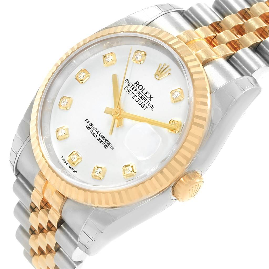 Rolex Datejust 36 Steel Yellow Gold Diamond Mens Watch 116233 Unworn SwissWatchExpo