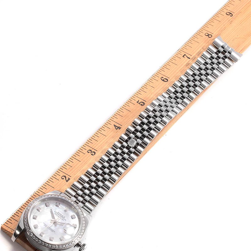 Rolex Datejust 36 Diamond MOP Dial Bezel Unisex Watch 116244 SwissWatchExpo