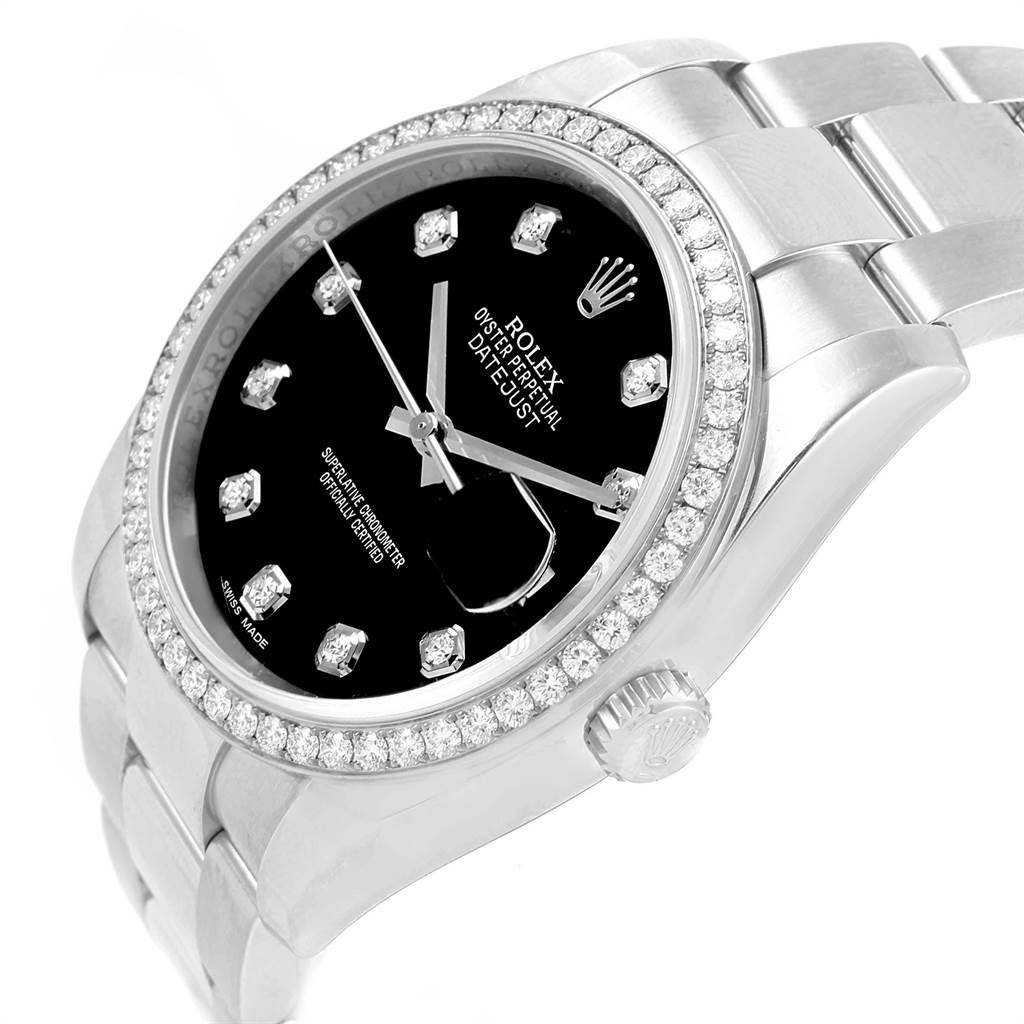 Rolex Datejust 36 Black Diamond Dial Bezel Unisex Watch 116244 SwissWatchExpo