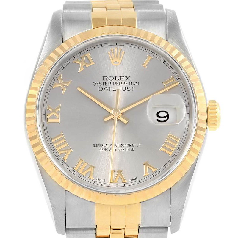 Rolex Datejust Steel Yellow Gold Slate Roman Dial Mens Watch 16233 SwissWatchExpo