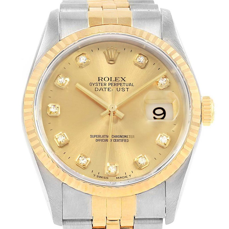 Rolex Datejust Two Tone Steel Yellow Gold Diamond Unisex Watch 16233 SwissWatchExpo